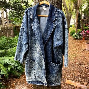 Vintage Fritzi Acid Wash Denim Jean Jacket 80s 90s